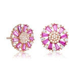 Diamond Essence Designer Stud Earring With Ruby Baguettes and Melee, 2.10 Cts.T.W in Rose Plated Sterling Silver.