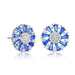 Diamond Essence Designer Stud Earring With Sapphire Baguettes and Melee, 2.10 Cts.T.W in Platinum Plated Sterling Silver.