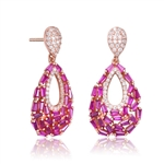 Diamond Essence Pear Drop Earring With Ruby Baguettes And Round Melee, 2.5 Cts.T.W. in Rose Plated Sterling Silver.