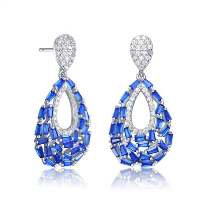 Diamond Essence Pear Drop Earring With Sapphire Baguettes And Round Melee, 2.5 Cts.T.W. in Platinum Plated Sterling Silver.