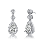 Diamond Essence Designer Drop Earrings with Pear Stones and Melee, 4.25 Cts.t.w. in Platinum Plated Sterling Silver, 21mm length.