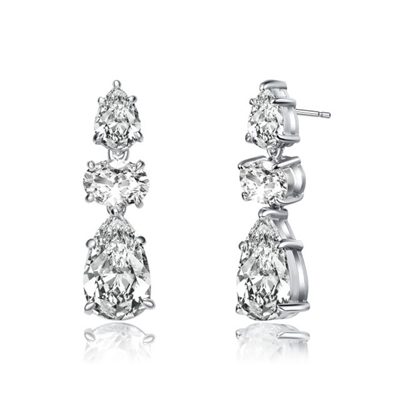 Diamond Essence Designer Drop Earrings With Pear Essence on the top and Oval Essence and Pear Essence Stones in Dangle setting , 8.0 Cts.T.W. in Platinum Plated Sterling Silver Earring. 7mm W x 17.5mm L