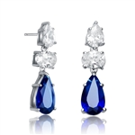 Diamond Essence Designer Drop Earring With Pear Essence on the top and Oval Essence and Sapphire Pear Essence Stones in Dangle setting , 8.0 Cts.T.W. in Platinum Plated Sterling Silver Earring. 7mm W x 17.5mm L