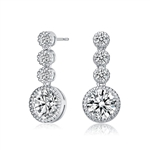 Diamond Essence Designer Drop Earrings with Round Brilliant Stones, 4.60 Cts.t.w.in Platinum Plated Sterling Silver.