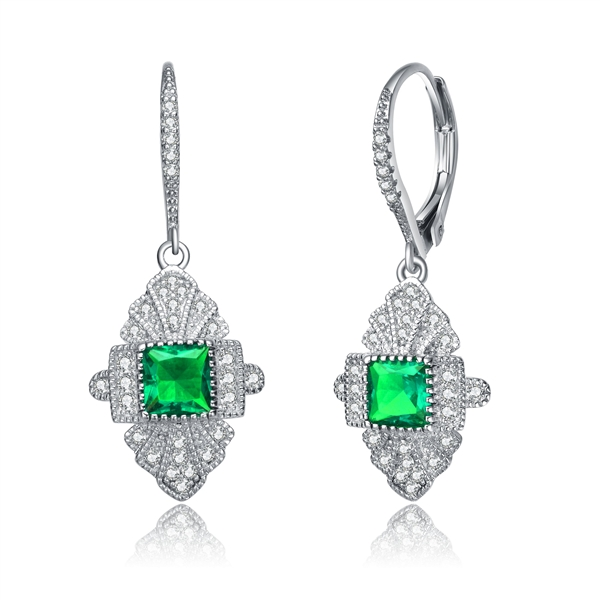 Diamond Essence leverback earrings, 0.50 carat each, emerald princess cut stone surrounded by melee and melee on leverback also for additional sparkle. 1.20 cts. t.w. in Platinum Plated Sterling Silver.