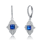 Diamond Essence leverback earrings, 0.50 carat each, sapphire princess cut stone surrounded by melee and melee on leverback also for additional sparkle. 1.20 cts. t.w. in Platinum Plated Sterling Silver.