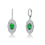 Diamond Essence leverback earrings, 3 carat each, emerald oval cut stone surrounded by melee.  5.0 cts. t.w. in Platinum Plated Sterling Silver.