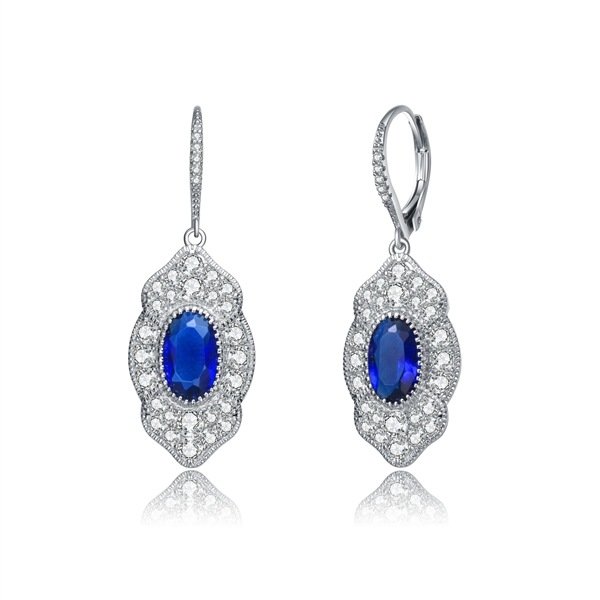 Diamond Essence leverback earrings, 3 carat each, sapphire oval cut stone surrounded by melee.  5.0 cts. t.w. in Platinum Plated Sterling Silver.