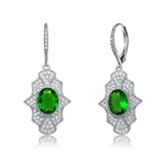 Diamond Essence leverback earrings, 2 carat each, emerald oval cut stone surrounded by melee.  4.5 cts. t.w. in Platinum Plated Sterling Silver.