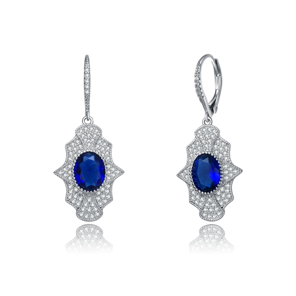 Diamond Essence leverback earrings, 2 carat each, sapphire oval cut stone surrounded by melee.  4.5 cts. t.w. in Platinum Plated Sterling Silver.