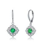 Diamond Essence leverback earrings, 0.5 carat each, round emerald stone surrounded by melee.  1.5 cts. t.w. in Platinum Plated Sterling Silver.