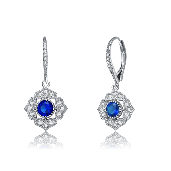 Diamond Essence leverback earrings, 0.5 carat each, round sapphire stone surrounded by melee.  1.5 cts. t.w. in Platinum Plated Sterling Silver.