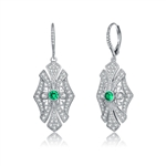 Diamond Essence leverback earrings, round emerald stone surrounded by melee.  1.0 cts. t.w. in Platinum Plated Sterling Silver.
