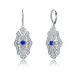 Diamond Essence leverback earrings, round sapphire stone surrounded by melee.  1.0 cts. t.w. in Platinum Plated Sterling Silver.