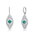Diamond Essence leverback earrings, round emerald stone surrounded by melee. 3.5 cts. t.w. in Platinum Plated Sterling Silver.