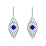 Diamond Essence leverback earrings, round sapphire stone surrounded by melee. 3.5 cts. t.w. in Platinum Plated Sterling Silver.