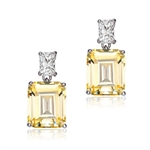 Prong Set Classic Two Stone Drop Earrings with Lab-made Emerald Cut Diamond by Diamond Essence set in Sterling Silver