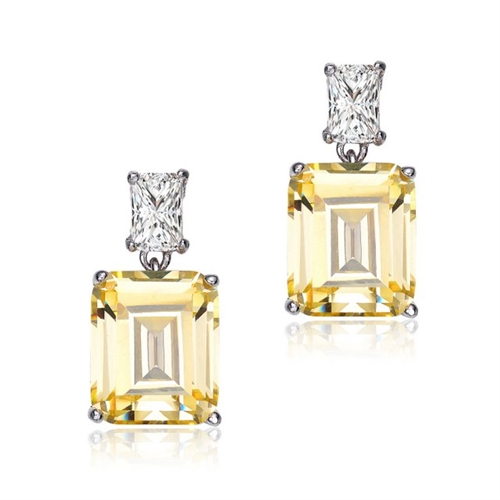 Classic Two Stone Drop Earrings with Emerald Cut