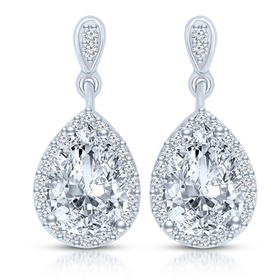 Prong Set Drop Earrings with Artificial Pear Diamond Surrounded by Brilliant Melee by Diamond Essence set in Sterling Silver