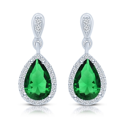 Beautiful drop earring, showing off  2.0 carat Emerald Essence Pear cut stone, each surrounded by Diamond Essence melee. 4.20 cts.t.w. set in Platinum Plated Sterling Silver.