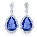 Beautiful drop earring, showing off  2.0 carat Sapphire Essence Pear cut stone, each surrounded by Diamond Essence melee. 4.20 cts.t.w. set in Platinum Plated Sterling Silver.
