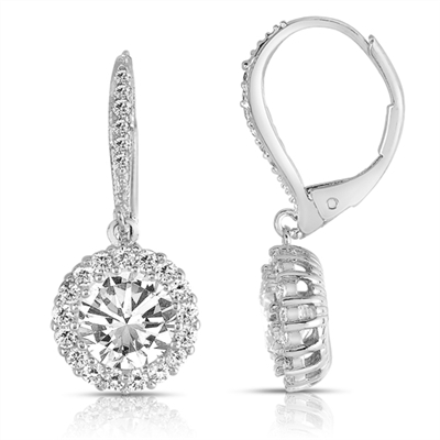 Diamond Essence leverback earrings, 1.5 carat each, round brilliant stone surrounded by melee. and melee on leverback also for additional sparkle. 4.0 cts. t.w. in Platinum Plated Sterling Silver.