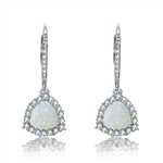 Diamond Essence Lever-back Earrings With 1 Ct. Triangle Shape Opal Stone Surrounded By Melee And Melee On the Bail,2.50Cts.T.W. In Platinum Plated Sterling Silver.