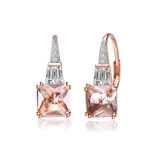 Diamond Essence Designer Earrings With 1.50 Cts. Morganite Cut Corner Princess Cut Stone And Tappered Baguettes Followed By Melee On Top, 3.50 Cts.T.W. In Rose Plated Sterling Silver.
