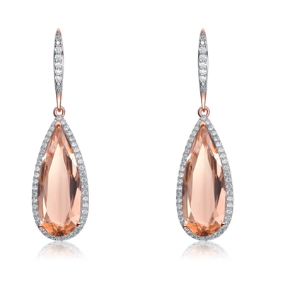 Diamond Essence Designer Leverback Earrings With Morganite Pear Essence Surrounded By Melee and Melee On the Bail, 12 Cts.T.W. In Rose Plated Sterling Silver.