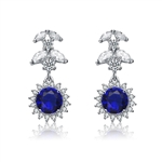 Diamond Essence Designer Drop Earrings With 1.25 Ct. Sapphire Essence Round Brilliant,Marquise Cut Stones And Melee, 5Cts.T.W. In Platinum Plated Sterling Silver.