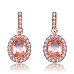 Diamond Essence Rose Plated Silver Earrings with 1 Ct. each Morganite Stone, in Halo Setting, 2.10 Cts.T.W.