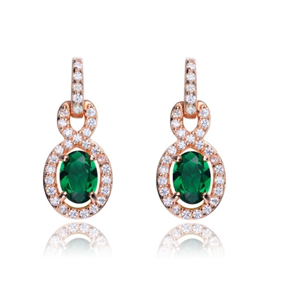 Designer Earring with 1.0 CT Emerald Essence in the center. Round brilliant melee on the bail and surrounding center stone with interwined design. 2.75 cts.t.w. in Rose Plated Sterling Silver. ( Matching Pendant item# SPC6600ER )