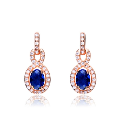 Designer Earring with 1.0 CT Sapphire Essence in the center. Round brilliant melee on the bail and surrounding center stone with interwined design. 2.75 cts.t.w. in Rose Plated Sterling Silver. ( Matching Pendant item# SEC6600SR)