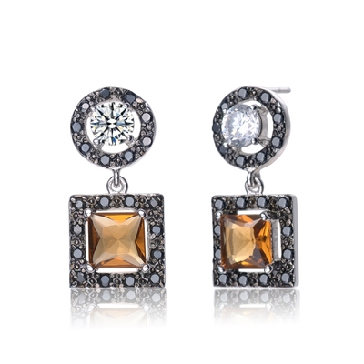 Diamond Essence Princess cut chocolate stone, 1.5 ct., outlined with onyx essence melee,. Hanging down from 0.5 ct. round brilliant Diamond Essence stone surrounded by onyx melee. Artistic creation of 6.0cts.t.w. in Platinum Plated Sterling Silver.