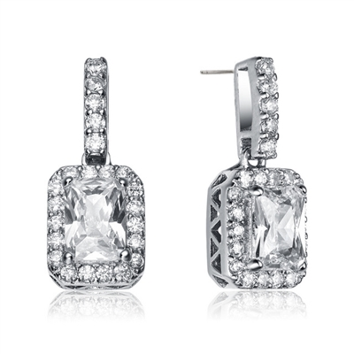Prong Set Drop Earrings with Simulated Emerald Cut Center surrounded by Round Brilliant Melee Diamonds by Diamond Essence set in Sterling Silver