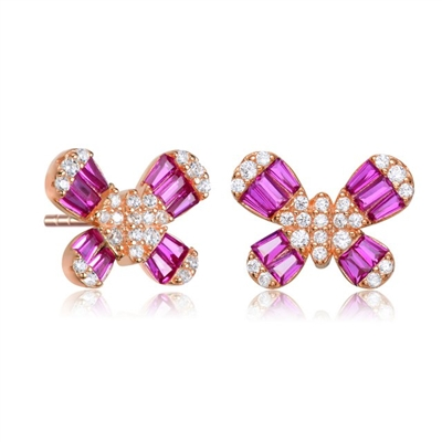 Diamond Essence Butterfly Stud Earrings With Ruby Baguettes and Round Melee, 2.10 Cts.t.w. set in Rose Plated Sterling Silver.