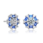 Diamond Essence Designer Studs With Round Brilliant Diamond Center And Sapphire Baguettes, 2.25 Cts.T.W in Platinum Plated Sterling Silver. 10mm W x 10mm L
