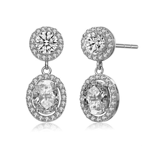 Prong Set Designer Earrings with Synthetic Round & Oval Stones surrounded by Melee Diamond by Diamond Essence set in Sterling Silver