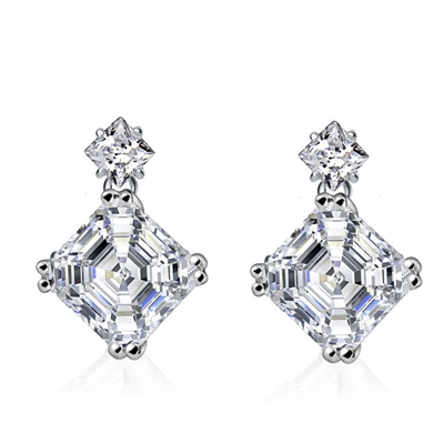 Diamond Essence Drop Earrings With Asscher Stone And Princess Stone in Platinum Plated Sterling Silver.