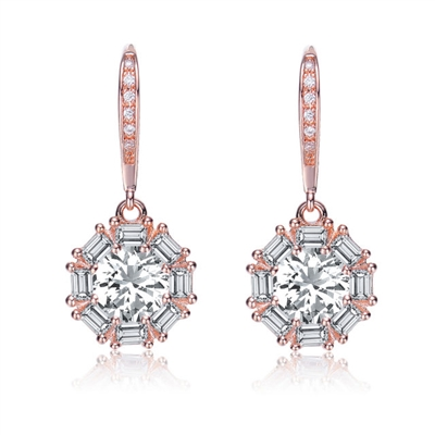 Beautiful leverback earrings with 1.0 ct. Round Diamond Essence in the center and surrounded by baguettes in delicate prong settings. 4.25 cts.t.w. in Rose Plated Sterling Silver.