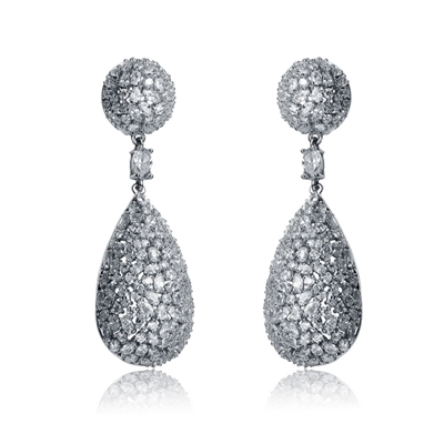 Designer Earrings with Medley of Simulated Round, Marquise and Pear Cut Diamonds by Diamonds Essence set in Sterling Silver