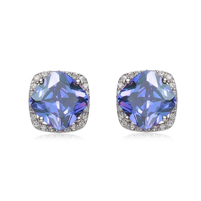 Diamond Essence Earrings With Cushion cut Tanzanite in Four Prongs surrounded by Brilliant Melee in Platinum Plated Sterling Silver.