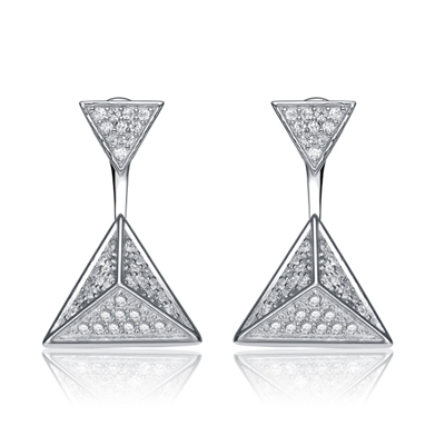 Diamond Essence Two in One Style Earrings, can wear as stud or Dangle, 0.75 Ct.T.W. In Platinum Plated Sterling Silver.