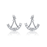 Diamond Essence Anchor Shaped Earrings With Beautiful Round Cut Stones, in Platinum Plated Sterling Silver, 1.10 Cts.T.W.