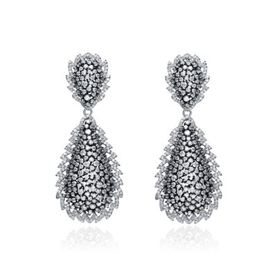 Designer Earrings with Artificial Round Brilliant Diamonds and Melee by Diamond Essence set in Sterling Silver