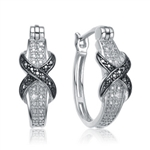 Diamond Essence Pair Of Platinum Plated Twisted Hoop Earrings With Round Brilliant Stones Giving a Two Tone Blend With A Clip-In Lock Type.