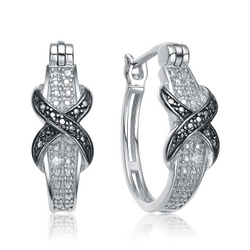 Pair Of Platinum Plated Twisted Hoop Earrings With Round Brilliant Stones Giving a Two Tone Blend With A Clip-In Lock Type.