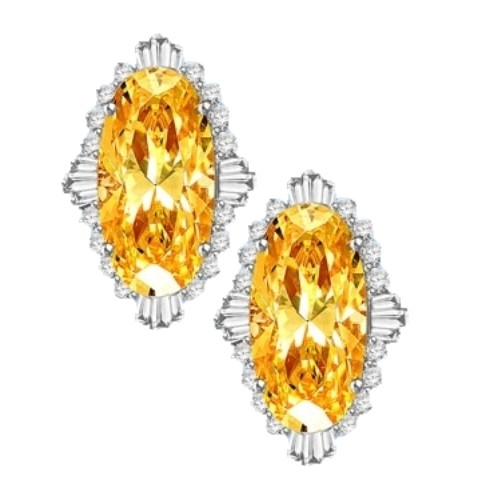 Diamond Essence Earrings in Platinum Plated Sterling Silver with Diamond essence 9.0 cts. Canary stone in the center and encircled by round stones and a large spray of baguettes on all four sides. Wear it with confidence. Appx. 21.0 cts. t.w.