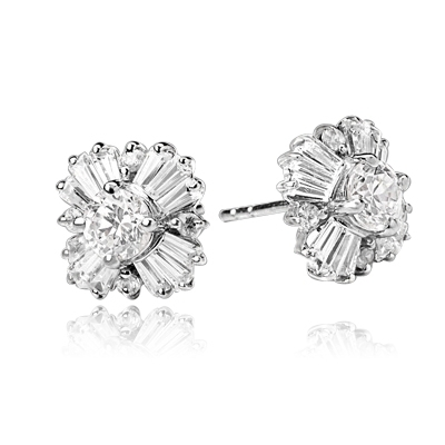 Magnificent star bright Earrings with Round Brilliant Diamond Essence and Baguettes Masterpieces,1.25 Cts.T.W. in Platinum Plated Sterling Silver.