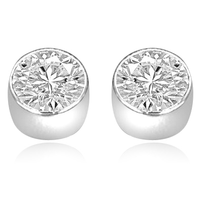 fe38ade53 Diamond Essence 0.5 carat each, round brilliant stone set in 14K Gold  Vermeil tubular bezel setting.